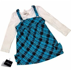 Beautees Blue/White Long Sleeve Dress for Girl 4